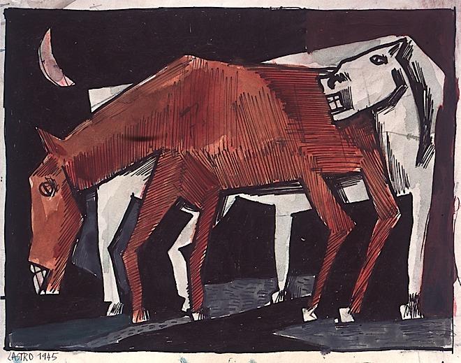 45.25 Deux  chevaux  en quinconce